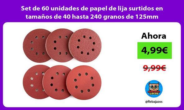 Set de 60 unidades de papel de lija surtidos en tamaños de 40 hasta 240 granos de 125mm
