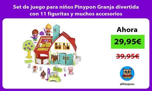 Set de juego para niños Pinypon Granja divertida con 11 figuritas y muchos accesorios