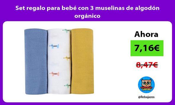 Set regalo para bebé con 3 muselinas de algodón orgánico