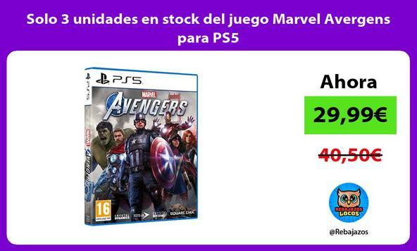 Solo 3 unidades en stock del juego Marvel Avergens para PS5