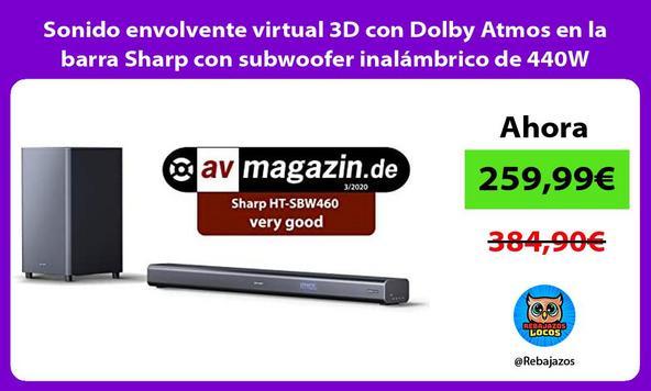 Sonido envolvente virtual 3D con Dolby Atmos en la barra Sharp con subwoofer inalámbrico de 440W