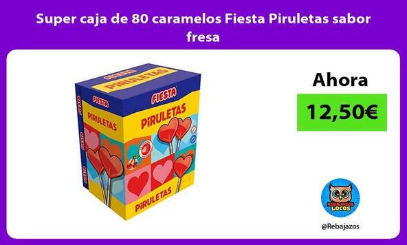 Super caja de 80 caramelos Fiesta Piruletas sabor fresa