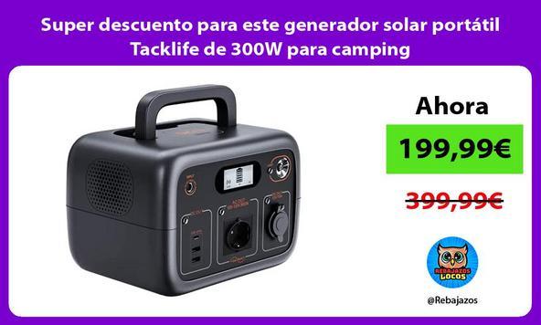 Super descuento para este generador solar portátil Tacklife de 300W para camping