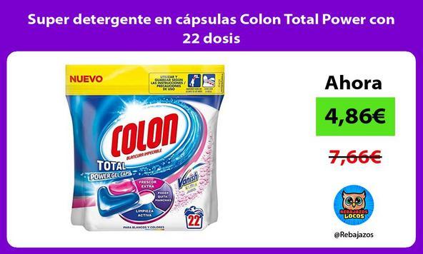 Super detergente en cápsulas Colon Total Power con 22 dosis