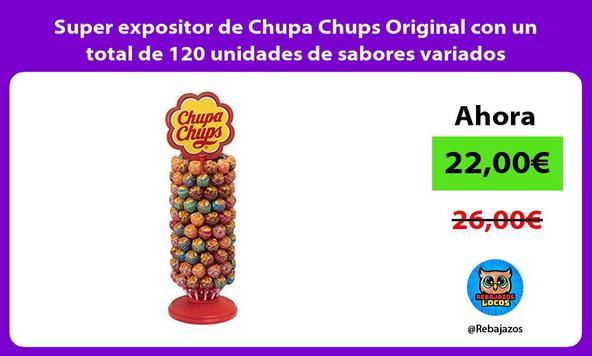 Super expositor de Chupa Chups Original con un total de 120 unidades de sabores variados