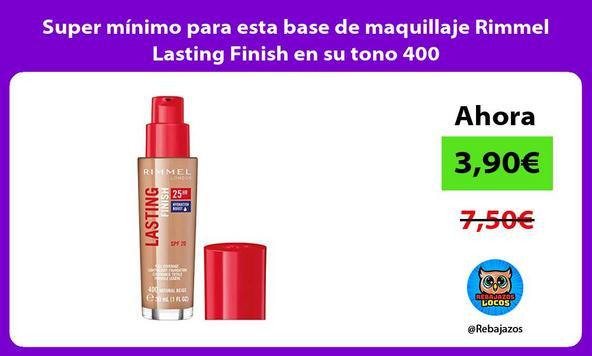 Super mínimo para esta base de maquillaje Rimmel Lasting Finish en su tono 400