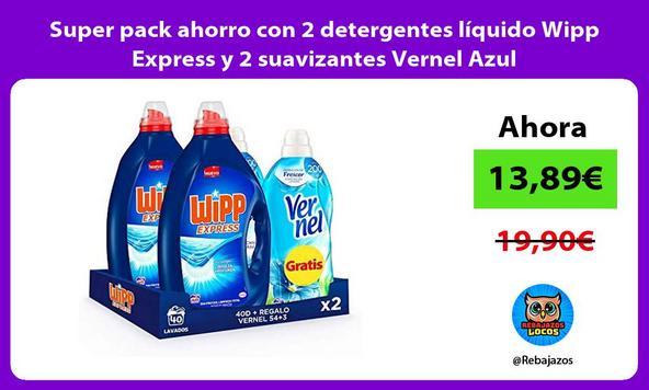 Super pack ahorro con 2 detergentes líquido Wipp Express y 2 suavizantes Vernel Azul