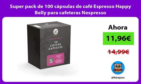 Super pack de 100 cápsulas de café Espresso Happy Belly para cafeteras Nespresso