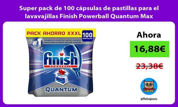 Super pack de 100 cápsulas de pastillas para el lavavajillas Finish Powerball Quantum Max