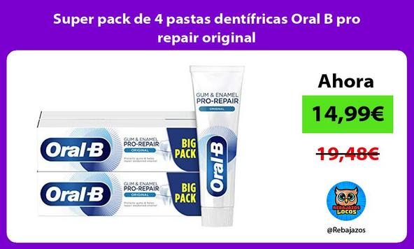 Super pack de 4 pastas dentífricas Oral B pro repair original