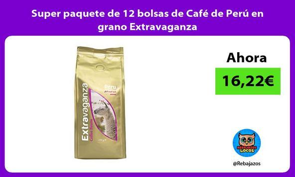 Super paquete de 12 bolsas de Café de Perú en grano Extravaganza