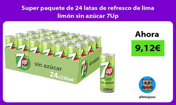 Super paquete de 24 latas de refresco de lima limón sin azúcar 7Up