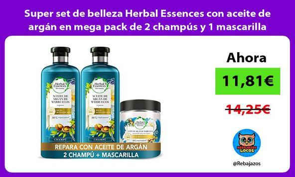 Super set de belleza Herbal Essences con aceite de argán en mega pack de 2 champús y 1 mascarilla