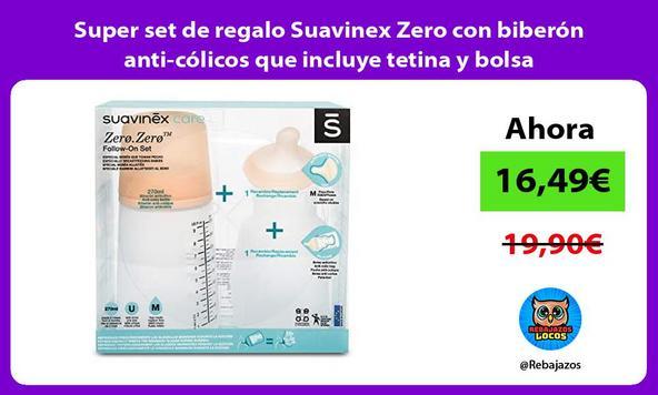Super set de regalo Suavinex Zero con biberón anti-cólicos que incluye tetina y bolsa