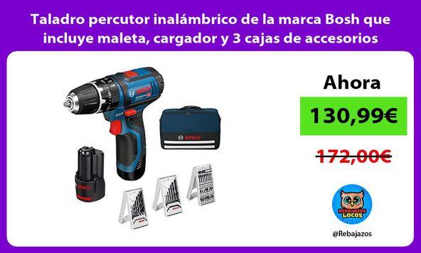 Taladro percutor inalámbrico de la marca Bosh que incluye maleta, cargador y 3 cajas de accesorios
