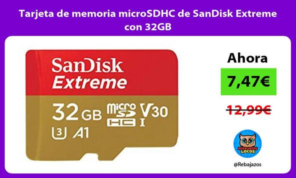 Tarjeta de memoria microSDHC de SanDisk Extreme con 32GB
