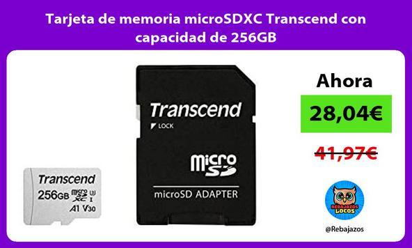 Tarjeta de memoria microSDXC Transcend con capacidad de 256GB