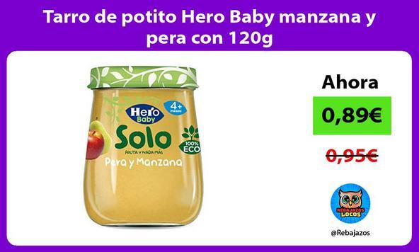 Tarro de potito Hero Baby manzana y pera con 120g