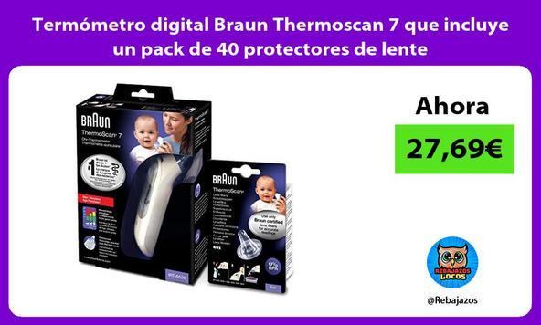 Termómetro digital Braun Thermoscan 7 que incluye un pack de 40 protectores de lente