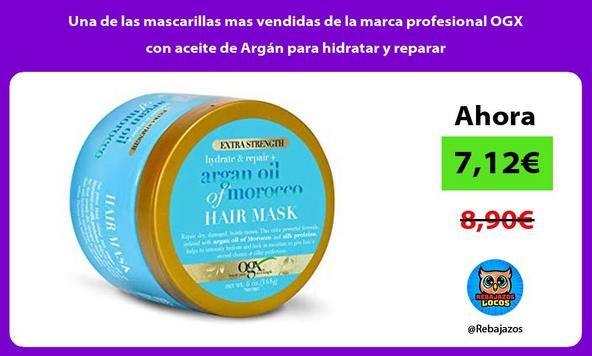 Una de las mascarillas mas vendidas de la marca profesional OGX con aceite de Argán para hidratar y reparar