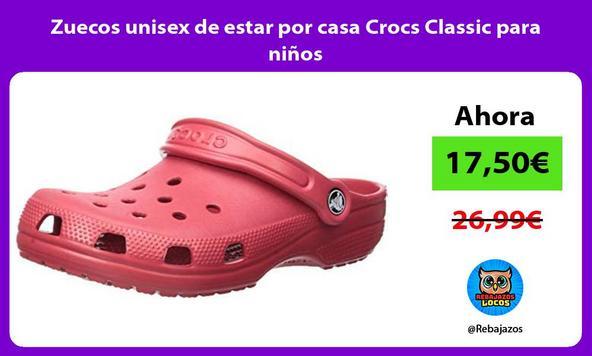 Zuecos unisex de estar por casa Crocs Classic para niños