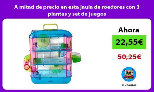 A mitad de precio en esta jaula de roedores con 3 plantas y set de juegos