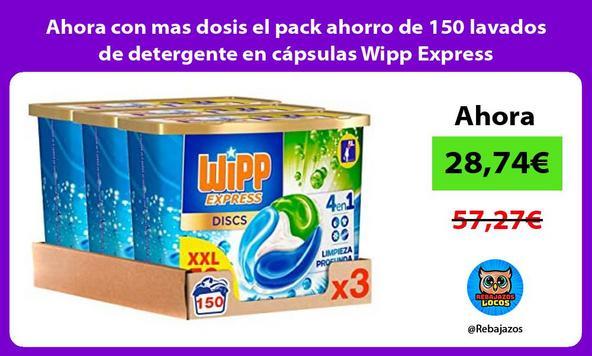 Ahora con mas dosis el pack ahorro de 150 lavados de detergente en cápsulas Wipp Express