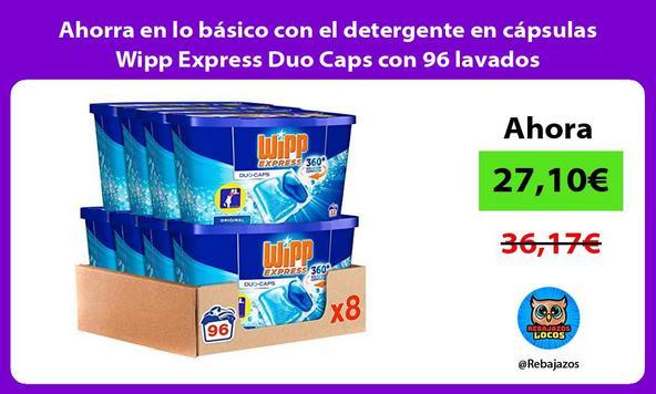 Ahorra en lo básico con el detergente en cápsulas Wipp Express Duo Caps con 96 lavados
