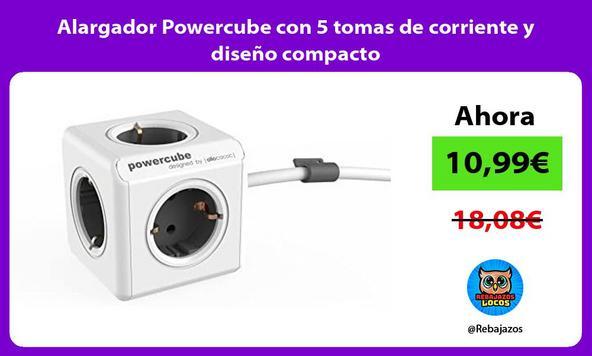 Alargador Powercube con 5 tomas de corriente y diseño compacto