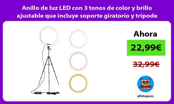 Anillo de luz LED con 3 tonos de color y brillo ajustable que incluye soporte giratorio y trípode