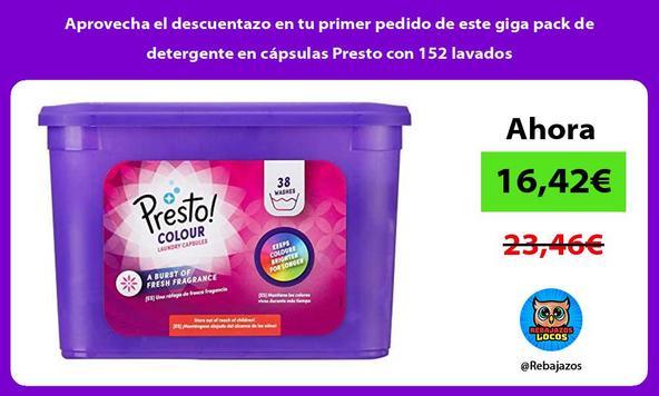 Aprovecha el descuentazo en tu primer pedido de este giga pack de detergente en cápsulas Presto con 152 lavados