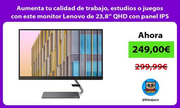 """Aumenta tu calidad de trabajo, estudios o juegos con este monitor Lenovo de 23,8"""" QHD con panel IPS"""