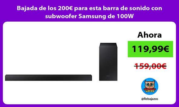 Bajada de los 200€ para esta barra de sonido con subwoofer Samsung de 100W