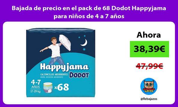 Bajada de precio en el pack de 68 Dodot Happyjama para niños de 4 a 7 años
