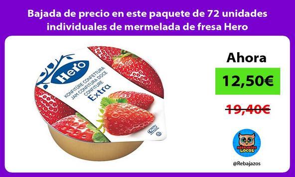 Bajada de precio en este paquete de 72 unidades individuales de mermelada de fresa Hero