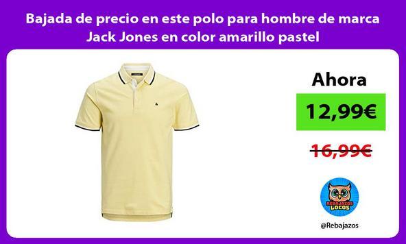 Bajada de precio en este polo para hombre de marca Jack Jones en color amarillo pastel