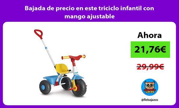 Bajada de precio en este triciclo infantil con mango ajustable