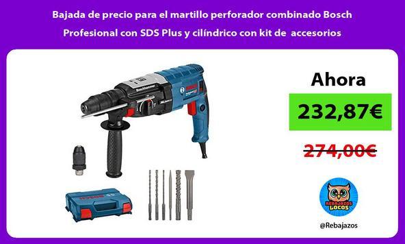 Bajada de precio para el martillo perforador combinado Bosch Profesional con SDS Plus y cilíndrico con kit de accesorios