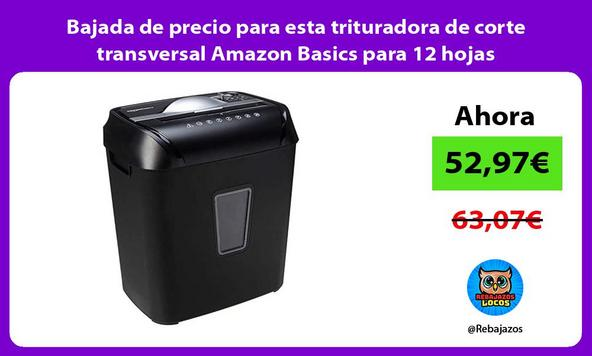 Bajada de precio para esta trituradora de corte transversal Amazon Basics para 12 hojas