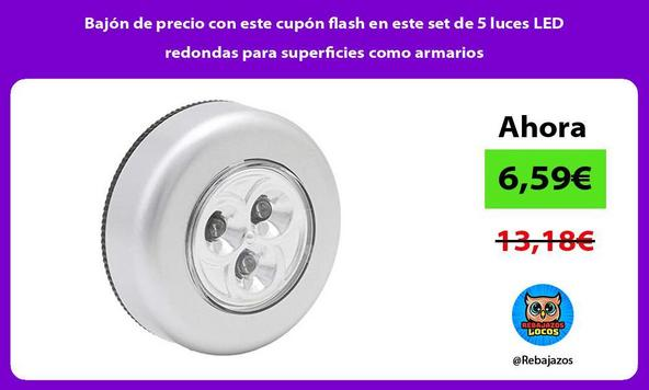 Bajón de precio con este cupón flash en este set de 5 luces LED redondas para superficies como armarios