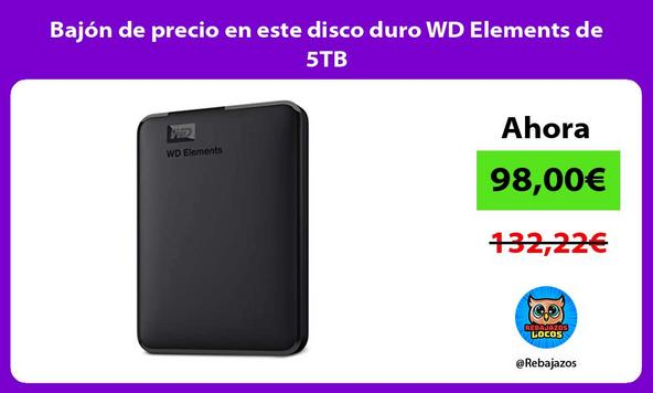 Bajón de precio en este disco duro WD Elements de 5TB