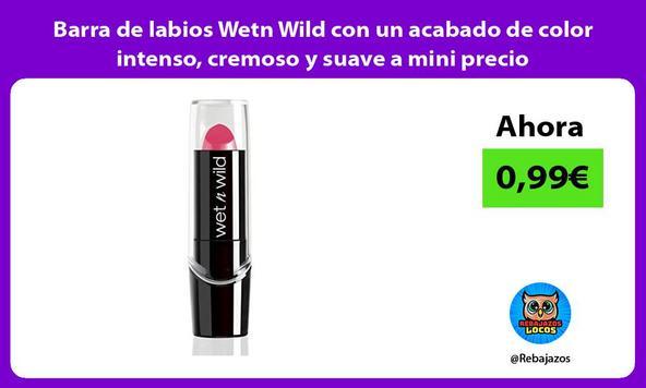 Barra de labios Wetn Wild con un acabado de color intenso, cremoso y suave a mini precio