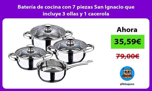 Batería de cocina con 7 piezas San Ignacio que incluye 3 ollas y 1 cacerola