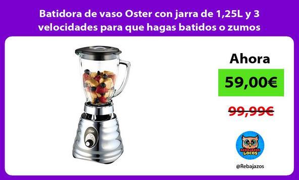 Batidora de vaso Oster con jarra de 1,25L y 3 velocidades para que hagas batidos o zumos naturales/