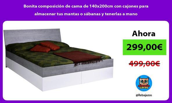 Bonita composición de cama de 140x200cm con cajones para almacenar tus mantas o sábanas y tenerlas a mano