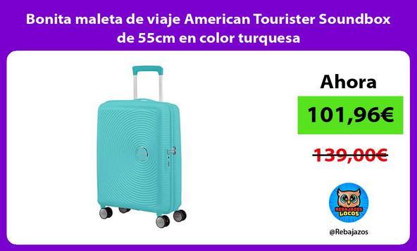 Bonita maleta de viaje American Tourister Soundbox de 55cm en color turquesa