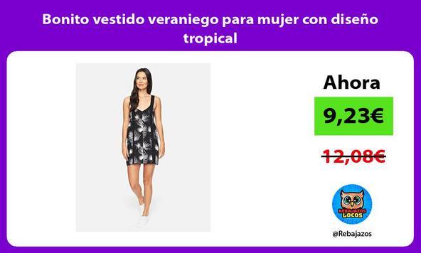 Bonito vestido veraniego para mujer con diseño tropical