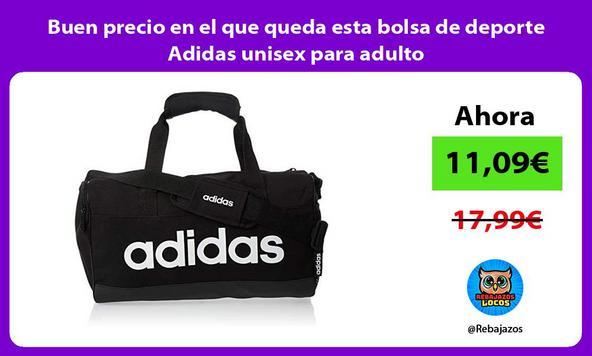 Buen precio en el que queda esta bolsa de deporte Adidas unisex para adulto/