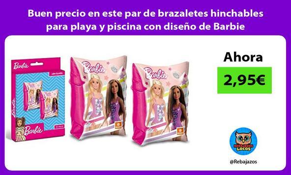 Buen precio en este par de brazaletes hinchables para playa y piscina con diseño de Barbie