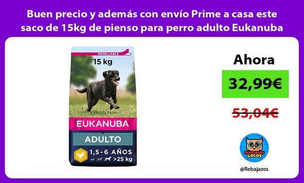 Buen precio y además con envío Prime a casa este saco de 15kg de pienso para perro adulto Eukanuba